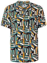 Topman Orange Geo Print Viscose Short Sleeve Casual Shirt