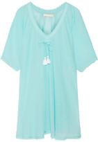 Heidi Klein Santa Barbara Tassel-trimmed Cotton-gauze Kaftan - Turquoise