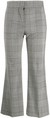 MSGM Cropped Check Print Trousers