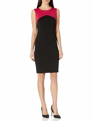 Kasper Women's Sleeveless Ponte V-Neck Sheath Dress