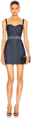 Dolce & Gabbana Strapless Mini Dress in Dark Blue | FWRD