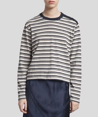 Atm Striped Pima Cotton Long Sleeve Boy Tee - Cream/ Navy Stripe