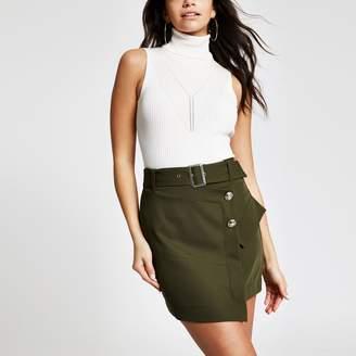River Island Womens Khaki utility mini skirt