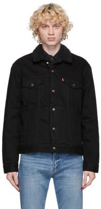 Levi's Levis Black Denim Sherpa Trucker Jacket