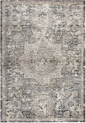 Panache Rizzy Home Traditional Central Medallion Distressed Geometric Rug