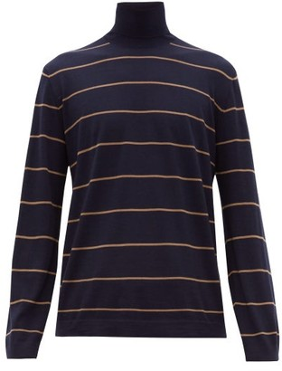 Brunello Cucinelli Striped Wool Blend Roll Neck Sweater - Mens - Navy