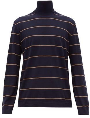 Brunello Cucinelli Striped Wool-blend Roll-neck Sweater - Navy
