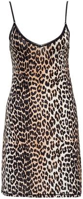 Ganni Leopard Print Slip Dress
