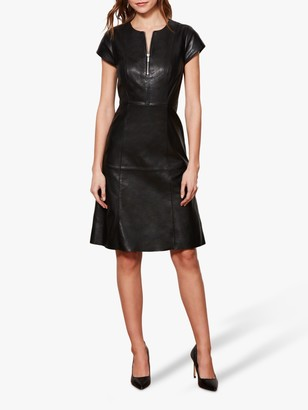 Sosandar Luxury Leather Front Zip Knee Length Dress