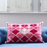 Graham and Green Phulkari Rectangular Cushion In Tonal Pink