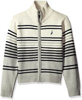 Nautica Little Boys Full Zip Sweater With Stripe