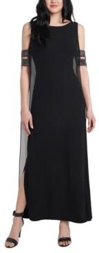 MSK Cold-Shoulder Overlay Gown