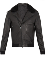 Acne Studios Avone shearling-trimmed leather biker jacket