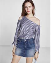 Express metallic stripe tie sleeve one shoulder blouse