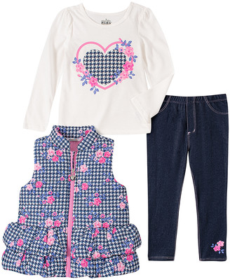 Kids Headquarters Girls' Outerwear Vests ASSORTED - Black & Pink Houndstooth Floral Ruffle Puffer Vest Set - Girls