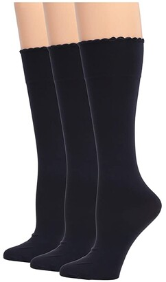 Hue Graduated Compression Opaque Knee High 3-Pair Pack