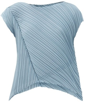 Pleats Please Issey Miyake Asymmetric Technical-pleated Top - Light Blue