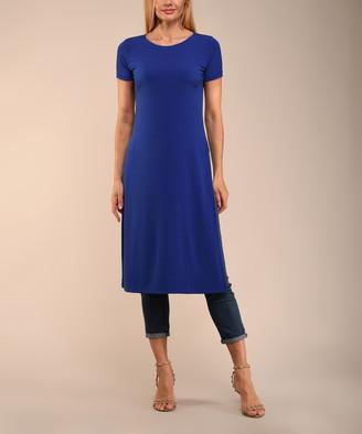 Lbisse Women's Tunics Royal - Royal Blue Split-Side Scoop Neck Tunic - Women & Plus