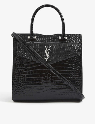 Saint Laurent Uptown small monogram crocodile-embossed leather tote bag