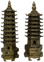 One Kings Lane Vintage Brass Garden Pagodas - Set of 2 - Retro Gallery - gold