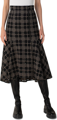Akris Eyelet Plaid Flared-Hem Midi Skirt