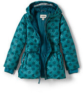 Lands' End Little Girls Midweight Down Printed Parka-Turquoise Bay Dots