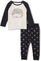 Petit Lem Ivory & Black Hedgehog Raglan Tee & Pants - Toddler