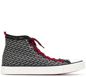 Lanvin Logo Print Hi-Top Sneakers