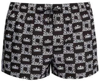 Dolce & Gabbana Check And Crown Print Mid Length Swim Shorts - Mens - Black