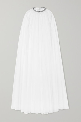 Monique Lhuillier Brie Crystal-embellished Swiss-dot Tulle Cape - White