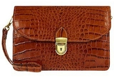 L.a.p.a. Cognac Croco-embossed Leather Clutch