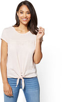 New York & Co. Lace-Accent Tie-Front Tee
