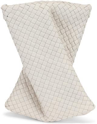 Bottega Veneta Crisscross Clutch in Chalk & Gold   FWRD