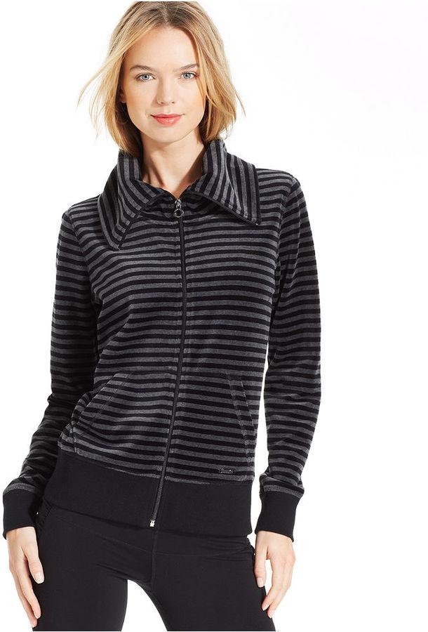 Calvin Klein Jacket, Striped Funnel-Neck Velour Zip-Up