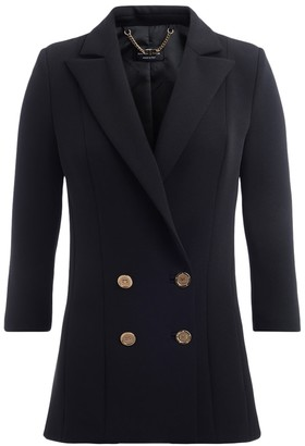 Elisabetta Franchi Double-breasted Jacket By With 3/4 Sleeves In Black Fabric