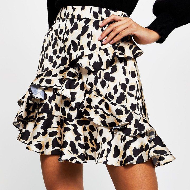 Thumbnail for your product : River Island Womens Brown leopard print mini skirt