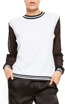 Missguided Women's Fishnet Sleeve Colorblock Pullover
