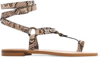 Sarah Summer 10mm Faux Lizard Embossed Flat Sandals