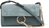 Chloé Faye Mini Leather And Suede Shoulder Bag - Petrol