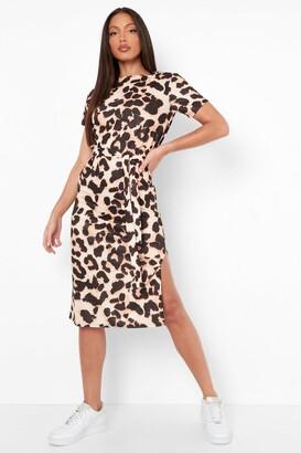boohoo Tall Side Split Belted Leopard T-shirt Dress
