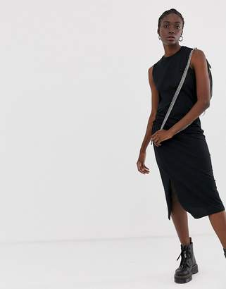 Cheap Monday Yell midi dress with side slit-Black