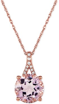 """Macy's Pink Amethyst (2-1/2 ct. t.w.) and Diamond Accent 18"""" Pendant Necklace in 14k Rose Gold"""