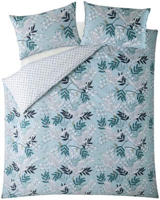 Fat Face Oriental Crane and Palm Quilt Duvet Cover Set - Duck Egg - King