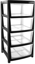 Thumbs Up 4 Drawer Large Plastic Storage Drawer Tower - Black - Perfect for Schools,Offices and Children's Toys