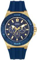 GUESS Men's Polished Blue and Gold-Tone Silicone Watch