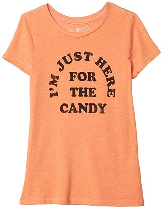 The Original Retro Brand Kids Just Here For The Candy Vintage Tri-Blend Short Sleeve Tee (Big Kids) (Streaky Orange) Girl's T Shirt