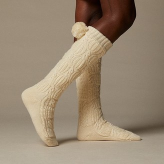 Indigo Trellis Cable Reading Socks Ivory