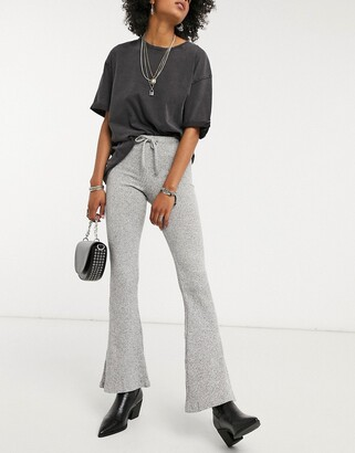 Topshop ribbed flare trousers in grey marl