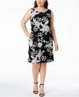 MSK Plus Size Printed Imitation-Pearl Shift Dress