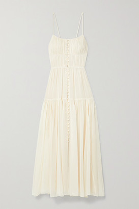 La Ligne Pleated Silk Crepe De Chine Maxi Dress - Ivory